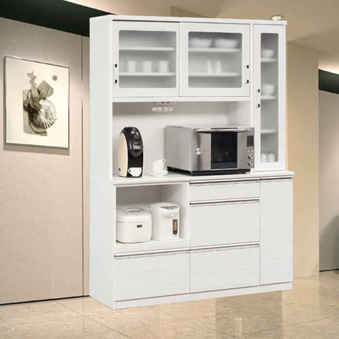 食器棚 完成品 光沢のある木目模様が美しいキッチンボード 幅150cm モイス仕様 ホワイト/ブラウン レンジボード SOKキズ、熱に強いメラミンポストフォーム天板 開梱設置送料無料  m015-kiz-150r-wh