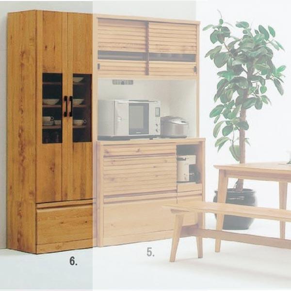 天然木 ホワイトオークの落ち着いた スライド 食器棚 キッチンボード 幅60cm SOK  【ws】【OK】 開梱設置送料無料 [G2]