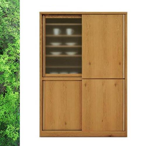 天然木 ホワイトオーク/ウォールナットの落ち着いた スライド 食器棚 キッチンボード 幅138cm  SOK【ws】【OK】【UR5】[G2]和風 和モダン 日本製 食器棚 完成品