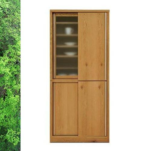 天然木 ホワイトオーク/ウォールナットの落ち着いた スライド 食器棚 キッチンボード 幅88cm  SOK【ws】【OK】【UR5】[G2]