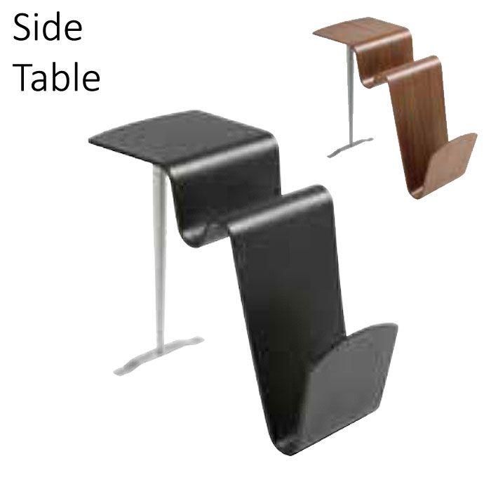 サイドテーブル のみ 幅31cm スウェーデン製 波型 オーク材 ブラック ウォールナット おしゃれ デザインテーブル スタイリッシュ 高級感 モダン 北欧 ナイトテーブル 机 つくえ ツクエ 【QSM-160】 フランスベッド【2D】