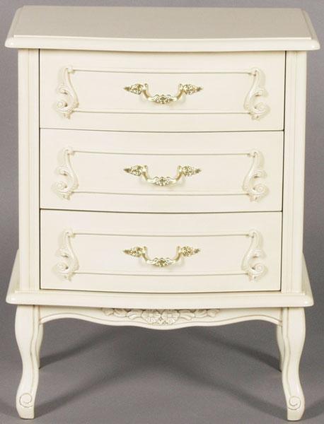 白い猫足3段 チェスト 整理タンス 白家具 白い家具 姫系 お姫様 PR1【QSM-180】【2D】