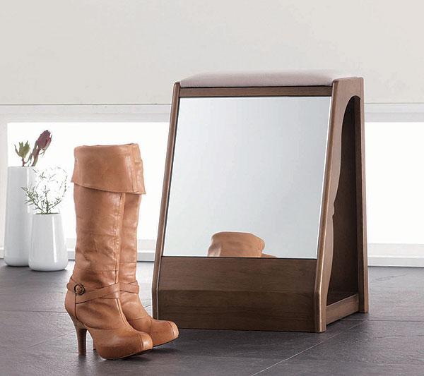 スツール ベンチチェア 椅子 玄関収納 ブーツ収納 鏡付き 玄関家具 便利 アイデア商品 人気【QSM-60】【2D】