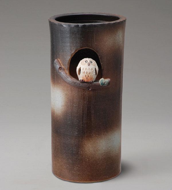 信楽焼 傘立て まんまるふくろう傘立 信楽焼き 滋賀県 日本の代表的な伝統工芸品「信楽焼」【QSM-160】【2D】