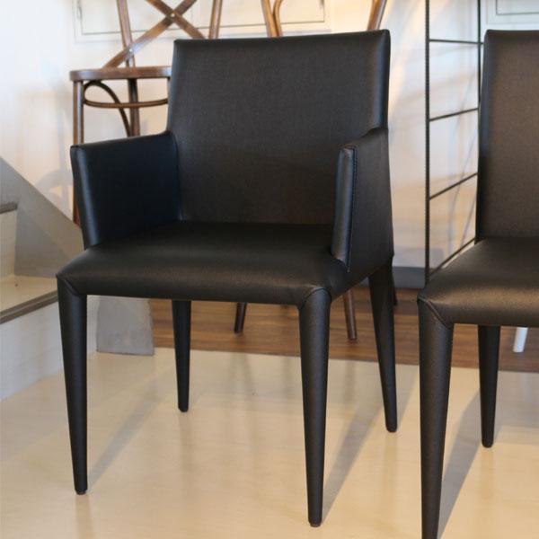 椅子 モダン 肘付き ダイニング チェア   ブラック 便利な棚 レザー デザイナーズ【QSM-220】  t001-【2D】