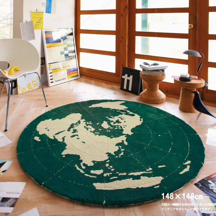 世界地図をモチーフにした ラグ 148×148 丸い 円形 まるい  ラグ 少し落ち着いたテイストのデザイン系 ラグ ホットカーペット対応 防ダニ加工  PR10 ポイント10倍【RGm140】