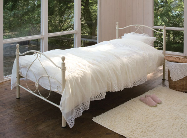 白いシングルベット ベッド  S ロマンチック お姫様【ロマンティック】プリンセス お姫様fwnrwn  ベッド ベット BED