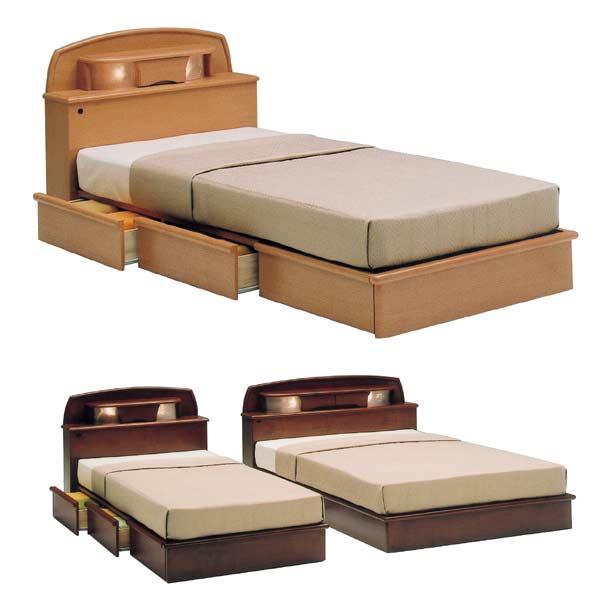 照明付き 棚付き ダブル ベッド 引き出しつき 収納 ドロアータイプ 2色 フレームのみ【大型配送便送料無料】【OK】 宮付き uch-adamsr ベッド ベット BED