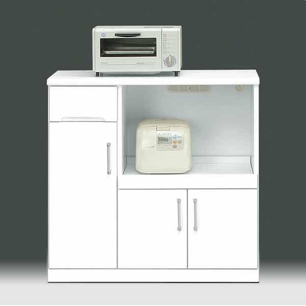 キッチンカウンター 幅90 白家具 鏡面仕上げ 日本製 完成品  食器棚 90幅 キッチン収納 PR2 ws 木製 国産 キッチン レンジ収納 aic-cristal60kc GMK-kica