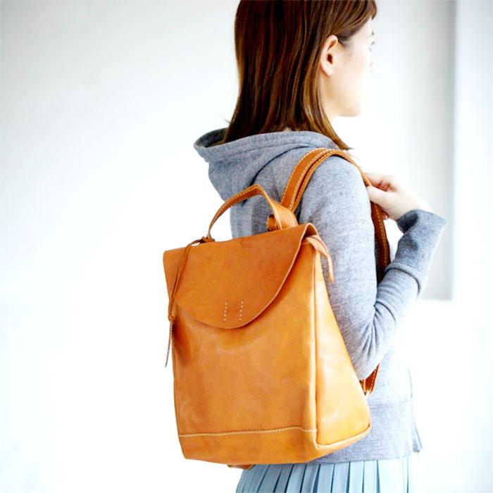 リュック A4サイズ対応 本革 牛革 ブラウン(キャメル系) リュックサック デイパック カバン かばん 鞄 バッグ バック 女性 レディース かわいい おしゃれ 人気 おすすめ 送料無料 母の日 【さらに特典付き】