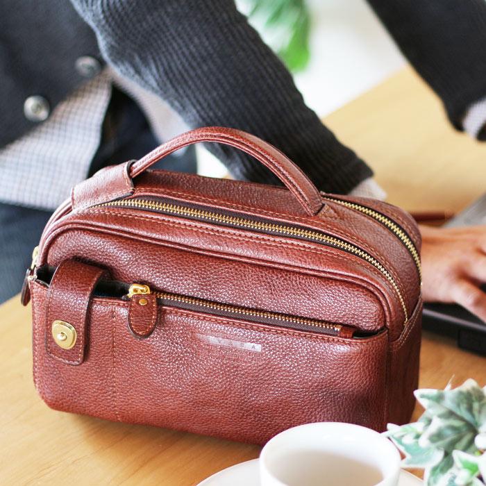 ラガード ネヴァダ NEVADANO 5133 旧5078セカンドバッグ ダブルファスナー シボ 牛革 本革日本製 国産 茶色 ブラウン チャ ハンドバッグ ミニカバン メンズ 鞄 カバン ミニバッグ ネバダPR10 QSM 1002DqjSGUVLpzM