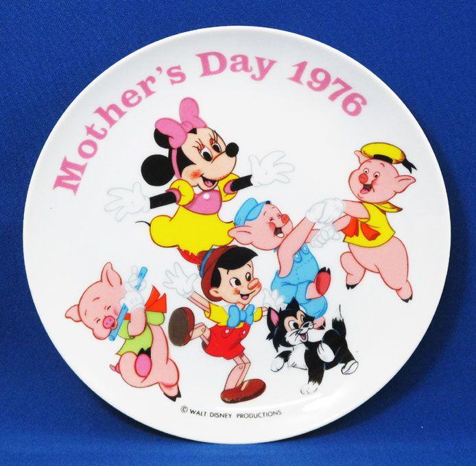 【ディズニー/Disney】ヴィンテージ記念プレート『MOTHER'S DAY 1976 (パッケージなし)』ミニー 三匹の子ぶた ピノキオ アメキャラ アメリカン雑貨 コレクション 母の日