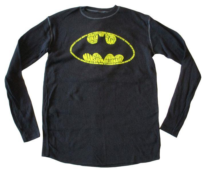 【バットマン/Bat Man】 長袖Tシャツ『Gotham City Hero・ロゴ(BK)』DC・DCコミックス・ワッフル生地・アメキャラ・アメコミ・アメリカン雑貨・ロングスリーブ ロンT
