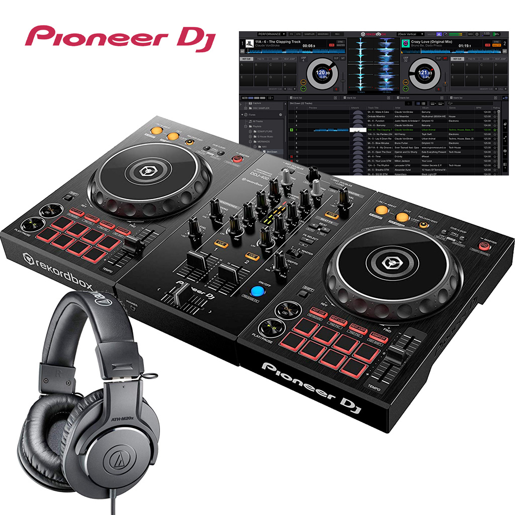 Pioneer パイオニア DJコントローラー DDJ-400 + ヘッドホン ATH-M20X DJスタートセット rekordbox dj対応【送料無料】