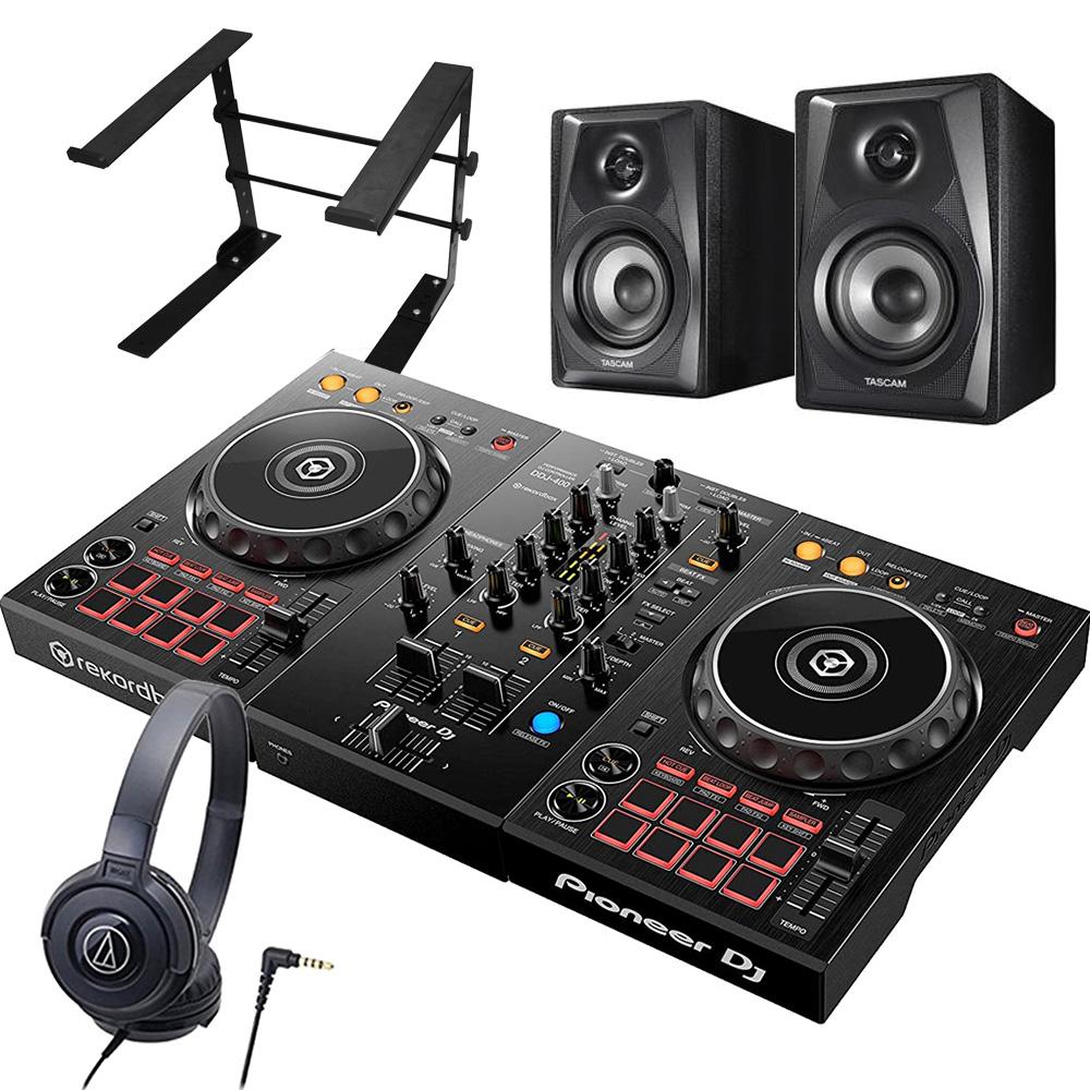 Pioneer パイオニア DJコントローラー DDJ-400 + ヘッドホン ATH-S100 + スピーカー VL-S3 + スタンド LTSTAND 買い足し不要 DJスタートセット rekordbox dj対応【送料無料】