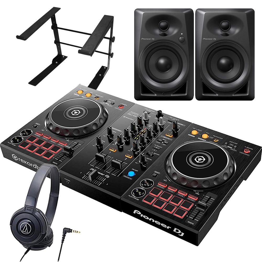 Pioneer パイオニア DJコントローラー DDJ-400 + ヘッドホン ATH-S100 + スピーカー DM-40 + スタンド LTSTAND 買い足し不要 DJスタートセット rekordbox dj対応【送料無料】