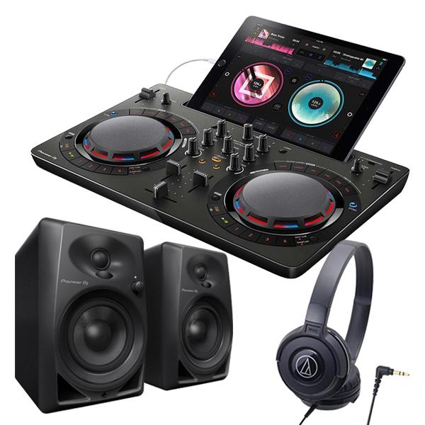 PIONEER DJコントローラーセット/DDJ-WeGO4 BK + スピーカー / DM-40-K + ヘッドホン / ATH-S100 BK スマホ iOS rekordbox【送料無料】