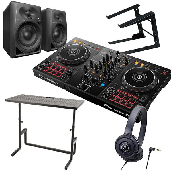 《教則動画付属》 PIONEER DJコントローラー DDJ-400 + ヘッドホン + スピーカー + PCスタンド + DJテーブル DJセット