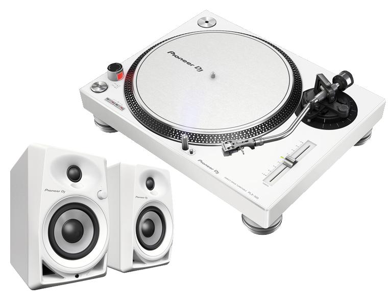 【送料無料】PIONEER ターンテーブル/PLX-500 ホワイト + DM-40 ホワイト セット