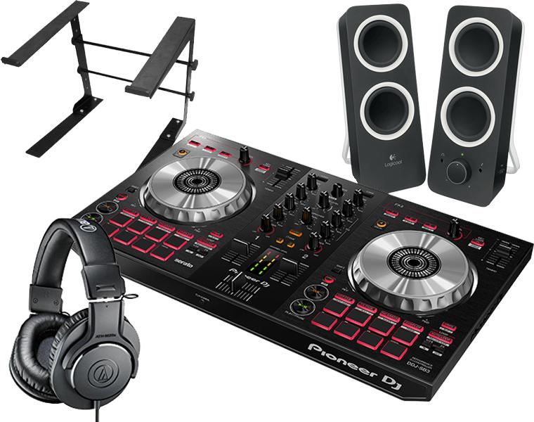 PIONEER DJコントローラーセット/DDJ-SB3 + ATH-M20X + Z200BK + PCスタンド【送料無料】
