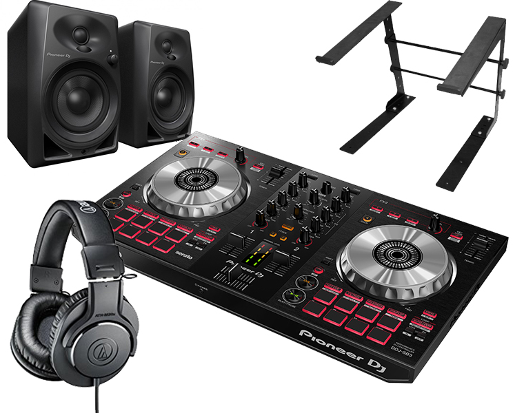 PIONEER DJコントローラーセット/DDJ-SB3 + ATH-M20X + DM-40 + PCスタンド【送料無料】