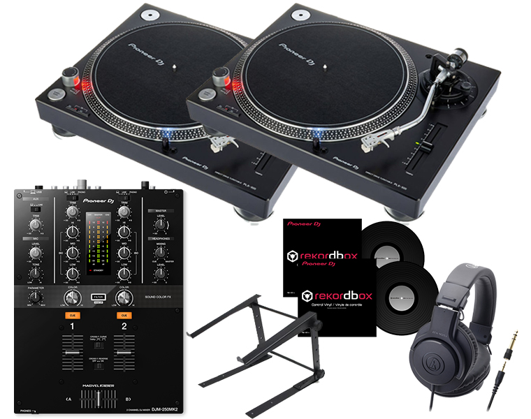 ターンテーブルDJセット/PIONEER PLX-500+DJM-250MK2+ヘッドホン+PCスタンド+専用コントロールバイナル【8G USBプレゼント / 送料無料】