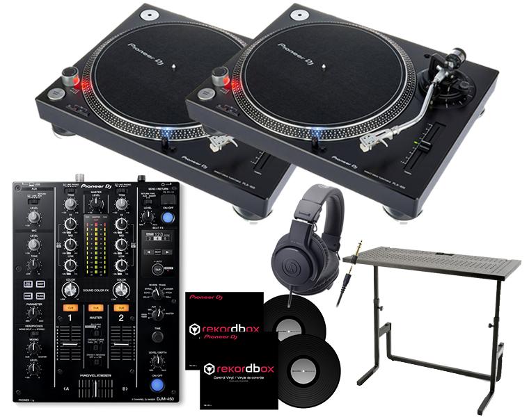 ターンテーブルDJセット/PIONEER PLX-500+DJM-450+ヘッドホン+DJスタンド+専用コントロールバイナル【8G USBプレゼント / 送料無料】