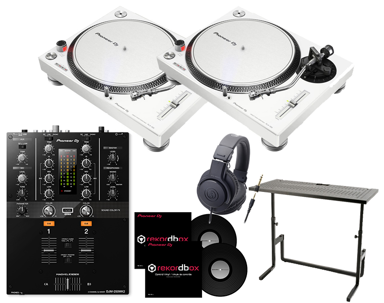 ターンテーブルDJセット/PIONEER PLX-500-W+DJM-250MK2+ヘッドホン+DJスタンド+専用コントロールバイナル【8G USBプレゼント / 送料無料】
