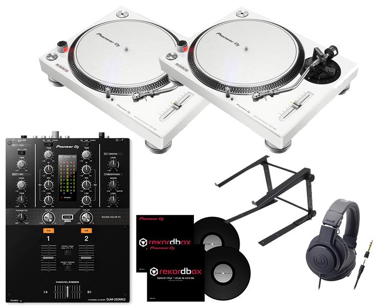 ターンテーブルDJセット/PIONEER PLX-500-W+DJM-250MK2+ヘッドホン+PCスタンド+専用コントロールバイナル【8G USBプレゼント / 送料無料】