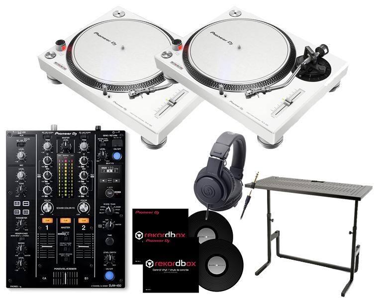ターンテーブルDJセット/PIONEER PLX-500-W+DJM-450+ヘッドホン+DJスタンド+専用コントロールバイナル【8G USBプレゼント / 送料無料】