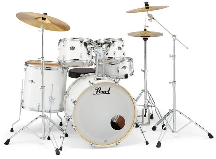 送料無料!! Pearl(パール)ドラムセット エクスポート EXX725S/C EXPORT SERIES #33 ピュアホワイト シンバル付ドラムフルセット (スタンダードサイズ)