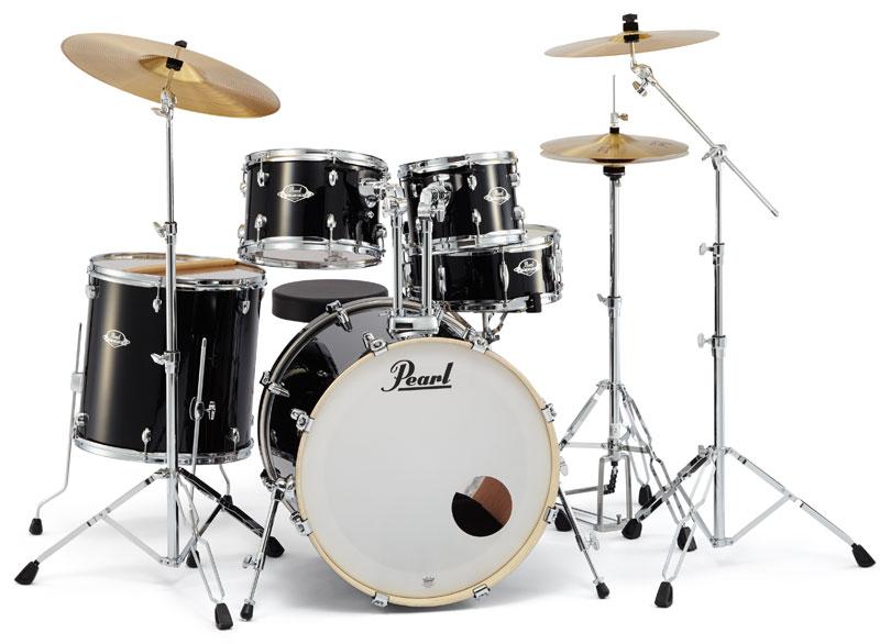 送料無料!!Pearl(パール)ドラムセット エクスポート EXX725S/C EXPORT SERIES #31 ジェットブラック シンバル付ドラムフルセット (スタンダードサイズ)
