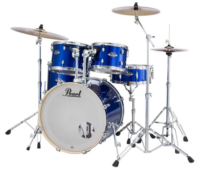 送料無料!! Pearl(パール)ドラムセット エクスポート EXX725S/C EXPORT SERIES #717 HIGH VOLTAGE BLUE シンバル付ドラムフルセット (スタンダードサイズ)