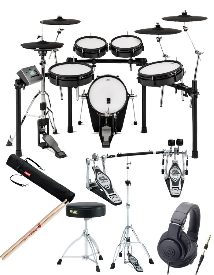 ATV EXS Series / EXS-5 自宅練習に最適 電子ドラム <イス、ツインペダル、ハイハットスタンド、スティック、スティックケース、ヘッドフォン付き>