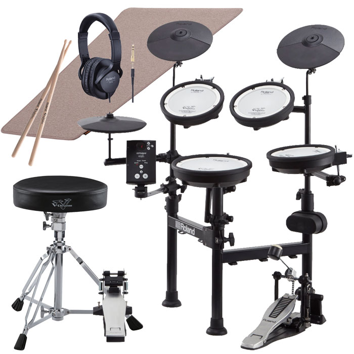 【キャッシュバックキャンペーン3,000円】Roland(ローランド)電子ドラム TD-1KPX2 V-Drums Portable <イス、シングルペダル、マット、ヘッドフォン、スティック付属>