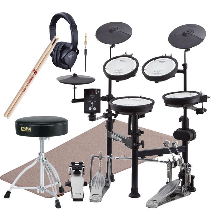 ポイント5倍キャンペーン!! Roland(ローランド)電子ドラム TD-1KPX2 V-Drums Portable <TAMA SPEED COBRAツインペダル、HT130イス、H214-Bスティック / Roland 純正品マット、ヘッドフォン付属>