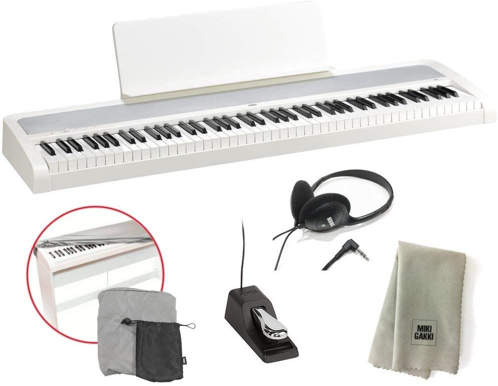 KORG 電子ピアノ B2 WH 88鍵 ホワイト 純正ヘッドホン+ダストカバー セット 特製クロスプレゼント 《送料無料》