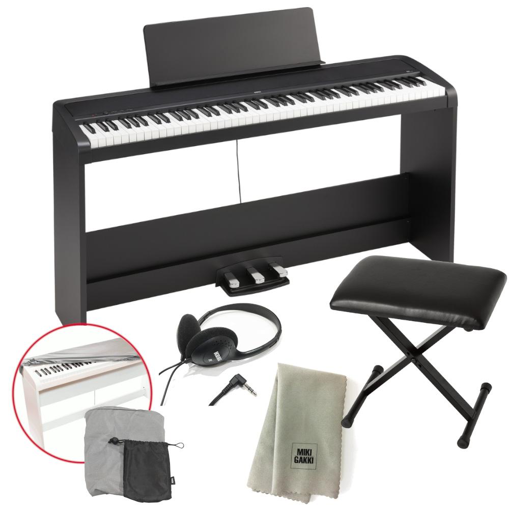 KORG 電子ピアノ B2SP BK 88鍵 ブラック ピアノ椅子+純正ヘッドホン+ダストカバー セット 特製クロスプレゼント 《送料無料》