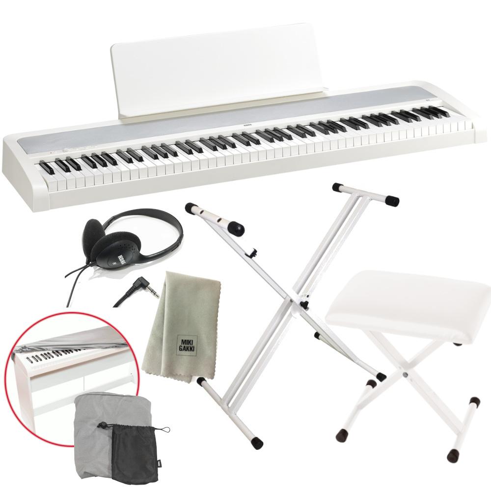 KORG 電子ピアノ B2 WH 88鍵 ホワイト X型スタンド+ピアノ椅子+純正ヘッドホン+ダストカバー セット 特製クロスプレゼント 《送料無料》