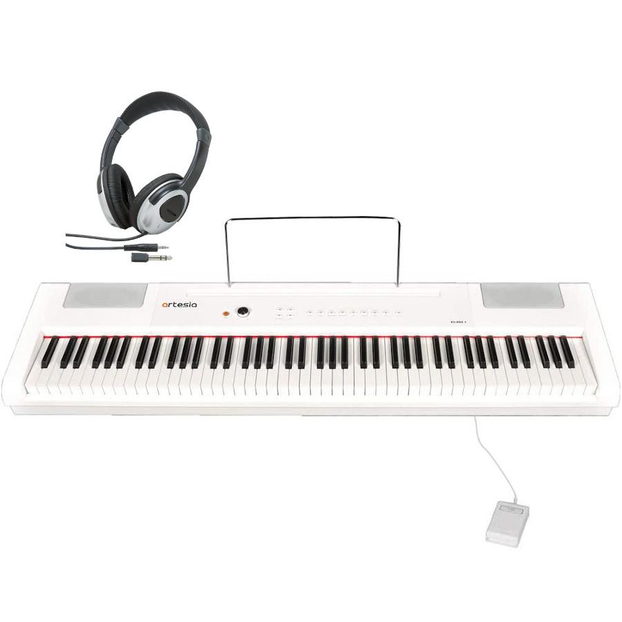Artesia 電子ピアノ 88鍵 PA-88H+/WH ホワイト ヘッドホンセット ハンマーキー 電池駆動対応モデル (サスティンペダル付属)