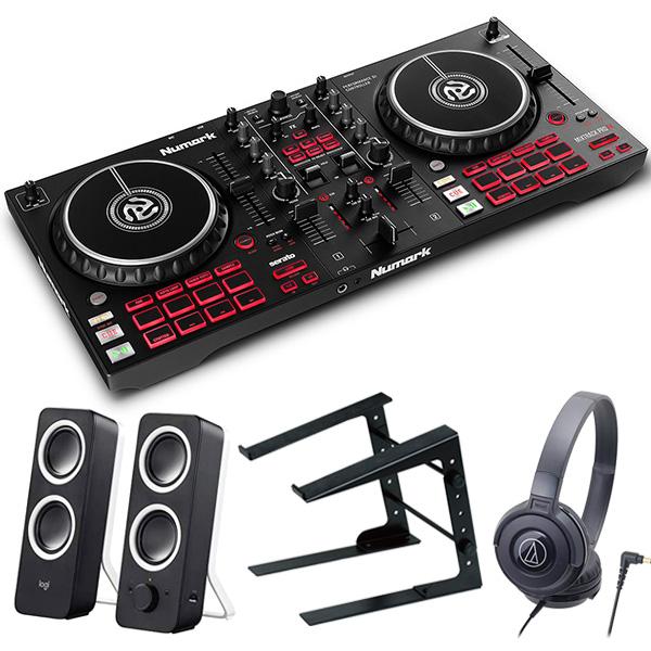 Numark ヌマーク Serato DJ対応 2デッキ DJコントローラー Mixtrack Pro FX + ヘッドホン + ラップトップスタンド + スピーカー セット