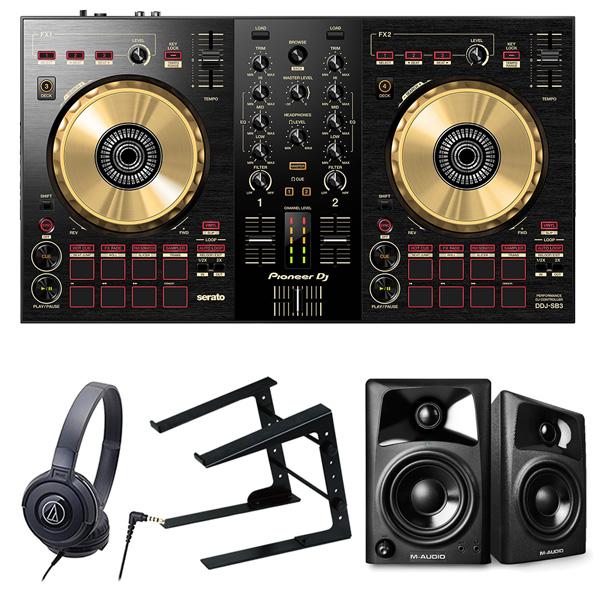 《カードポイント5倍キャンペーン(SPU分でポイントで最大7倍)》《即出荷可能》Pioneer DJ DJコントローラー DDJ-SB3-N + ヘッドホン + スピーカー + PCスタンド セット 送料無料