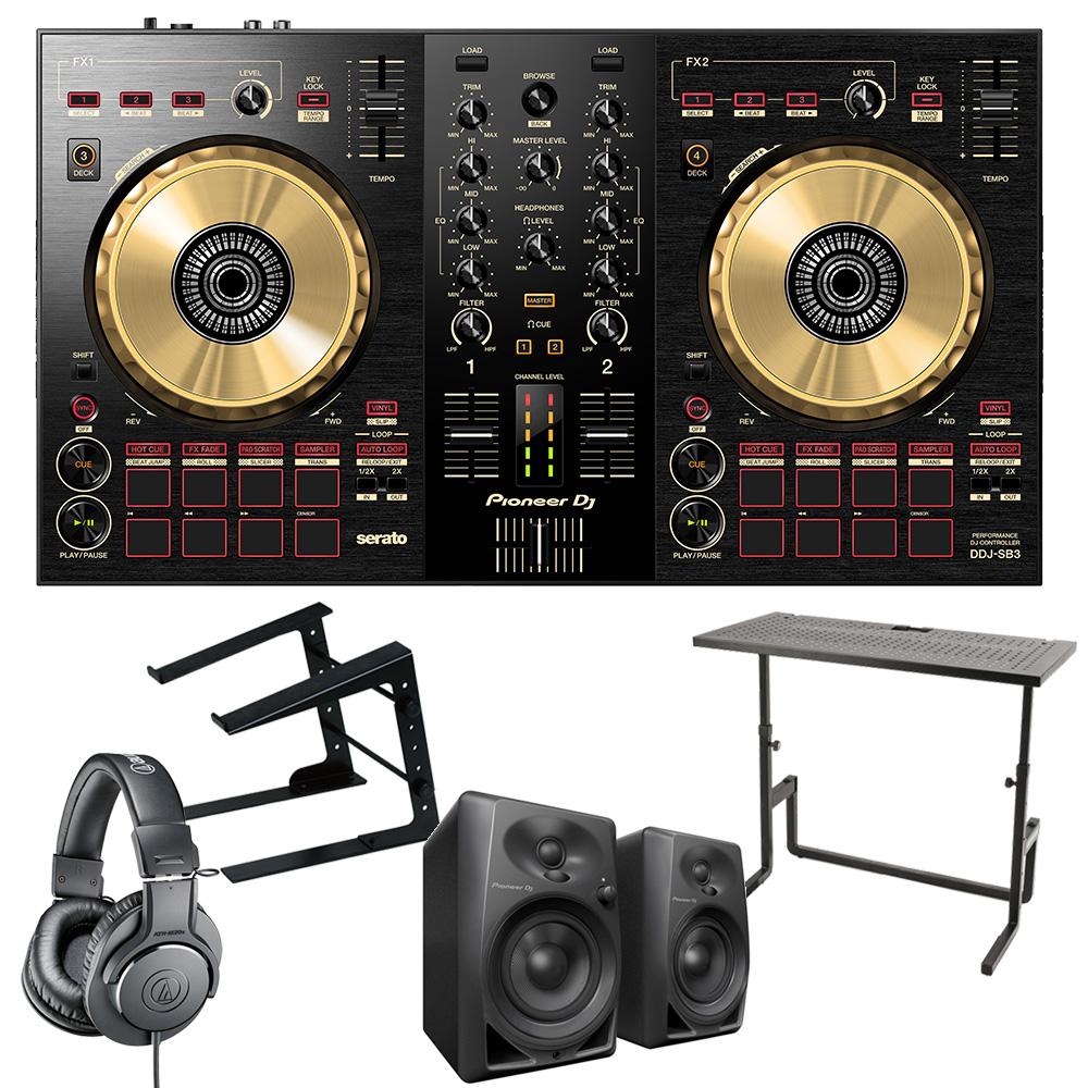 《カードポイント5倍キャンペーン(SPU分でポイントで最大7倍)》《即出荷可能》Pioneer DJ DJコントローラー DDJ-SB3-N + ヘッドホン + スピーカー + PCスタンド + DJテーブル セット 送料無料