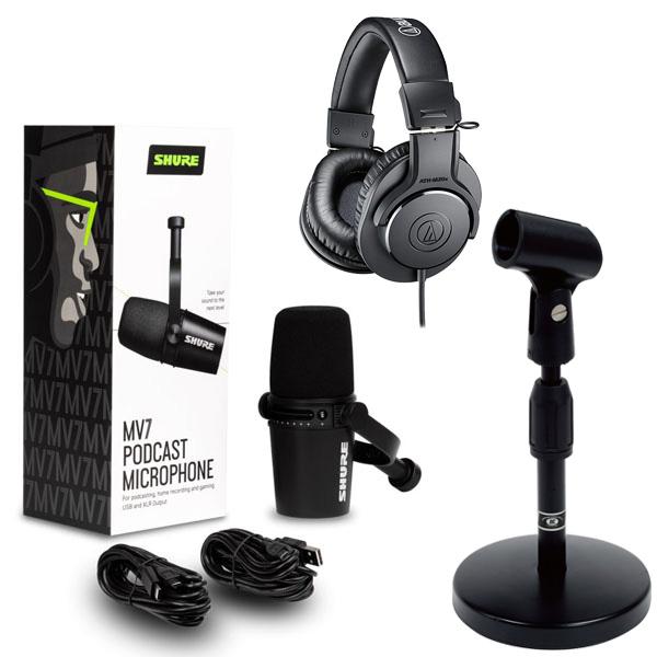 USB XLR接続に両対応の高音質コンデンサーマイク SHURE ハイブリッドUSB カーディオイドマイク MV7K-J 《2年保証》 + 卓上スタンドAD-11 セット ヘッドホンATH-M20 激安通販販売 豪華な
