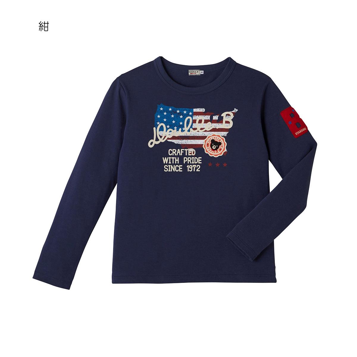 ミキハウス ダブルビー mikihouse アメリカンプリント長袖Tシャツ(大人用)〈M(165-175cm)〉