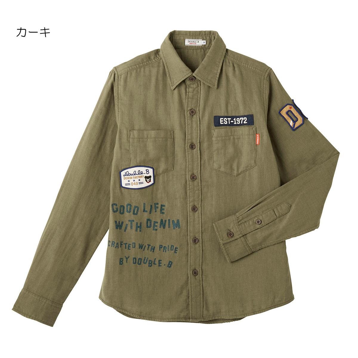 ミキハウス ダブルビー mikihouse ダブルガーゼ素材のミリタリーシャツ(大人用)〈M-L(165cm-185cm)〉
