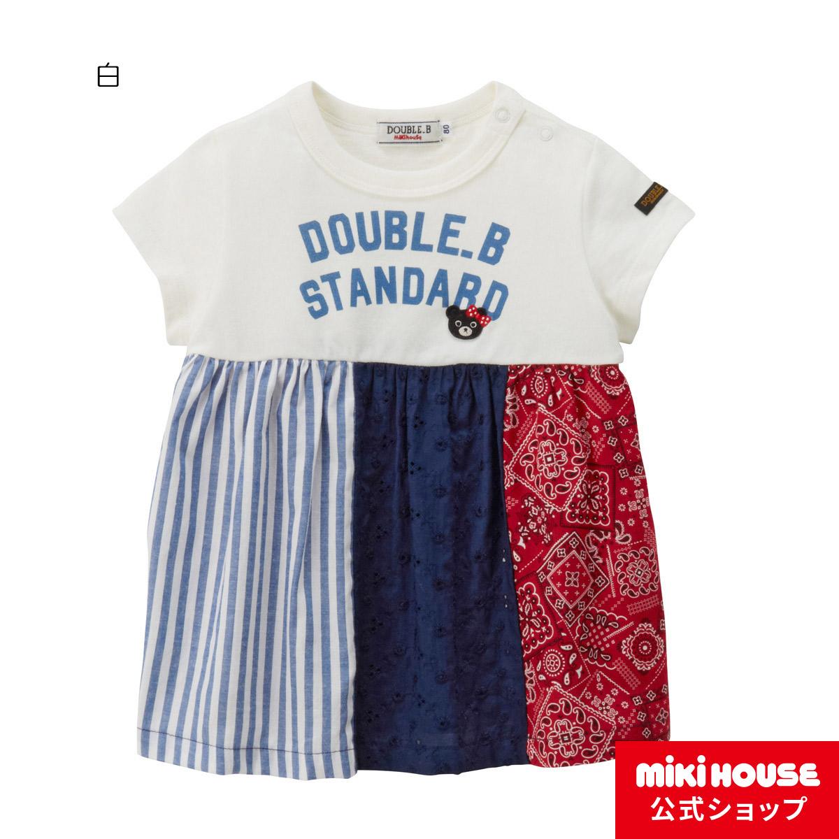 ミキハウス ダブルビー mikihouse パッチワーク風半袖Tシャツ(140cm) 女の子 半そで かわいい こども 子供服