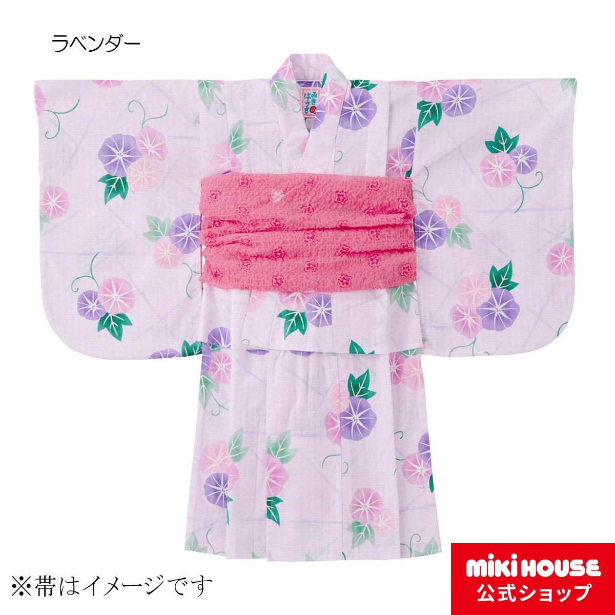 ミキハウス mikihouse あさがお柄浴衣(女児用)〈130cm(120cm-130cm)〉 バーゲン