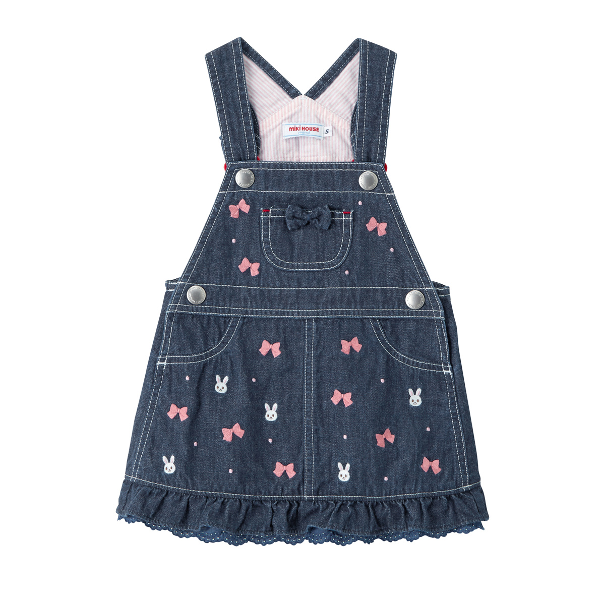 ミキハウス mikihouse プチうさこ 薄手のデニムジャンパースカート〈S-L(70cm-100cm)〉 バーゲン