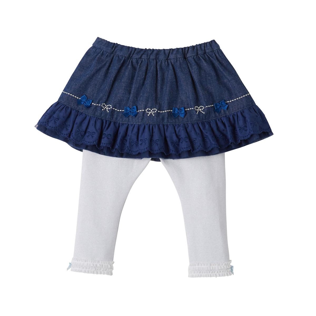 ミキハウス mikihouse デニムスカート付レギンスパンツ(80cm・90cm・100cm) バーゲン